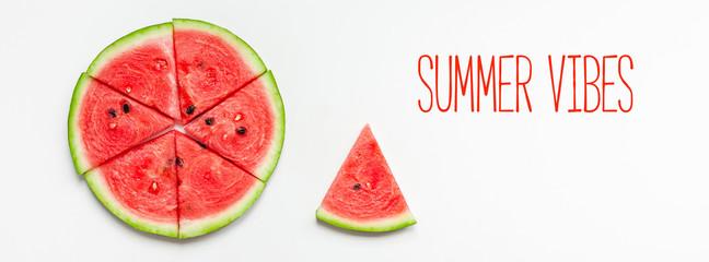 Fresh watermelon slices on white background
