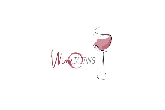 Glass of wine and wine stain. Hand-drawn and calligraphic design elements. Vector
