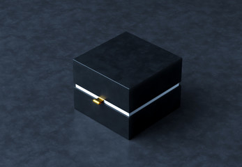 Black Gift Box Mockup on black background, 3d rendering. Luxury packaging box for premium products