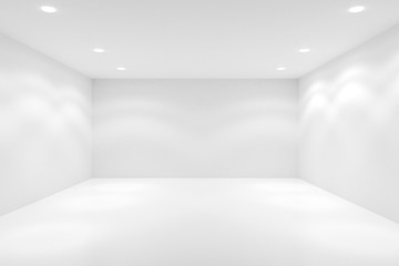 Empty white room with spotlights in the ceiling - gallery or modern interior template, 3D illustration