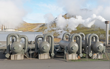 Steam Separators at a Geothermal Energy Plant