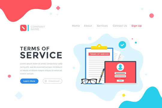 Terms of service. Policy, license agreement, GDPR, terms of use, ToS concept. Modern flat design graphic elements for web banner, landing page template, website. Vector illustration