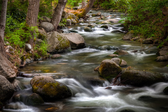 Long exposure of water flowing over rocks at Lithia Park in Ashland Oregon