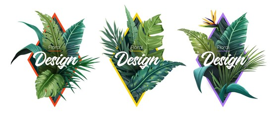 Set of Summer Bright tropical design elements. Print on T-shirts, sweatshirts, cases for mobile phones, souvenirs. Vector illustration