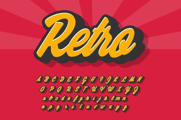 Estores personalizados com sua foto Vector retro typeface 3d bold typography sans serif style for poster, decoration, promotion, book, t shirt, sale banner, printing on fabric. Cool modern alphabet. Trendy font. 10 eps