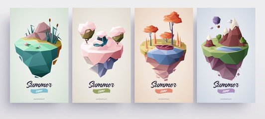 Low polygonal geometric nature islands. Vector Illustration, low poly style. Background design for banner, poster, flyer, cover, brochure.