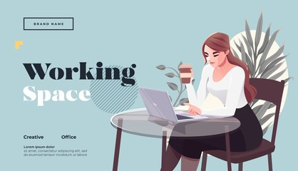 Working space Landing page template. Young female freelancer is sitting in modern hipster cafe at the table with take away coffee, mobile phone. Vector illustration