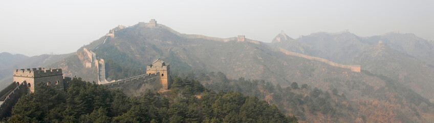 The Great Wall of China. This section of the Great Wall is Jinshanling, a wild part with scenic views. The Great Wall of China near Beijing. Wild Great Wall of China, Jinshanling, Beijing, UNESCO site