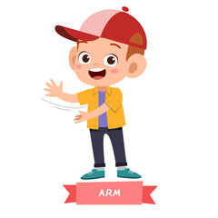 kid pointing body part vector