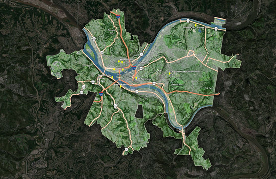 Pittsburgh 3D City Map (Labeled)