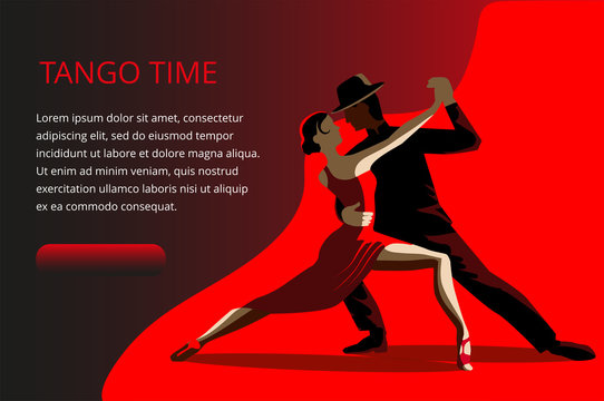 Beautiful couple dancing tango. A woman in a red dress and a man in a black suit and hat. Banner or invitation card template.