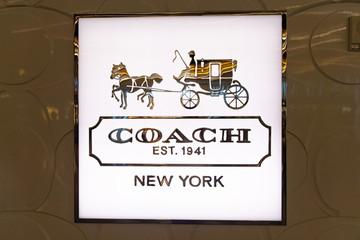 Las Vegas, Nevada - August 23, 2019: COACH logo on sign at McCarran International Airport in Las Vegas, Nevada