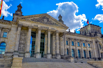 Foto op Canvas Berlijn The Reichstag building located in Berlin, Germany which houses the German parliament, the Bundestag.