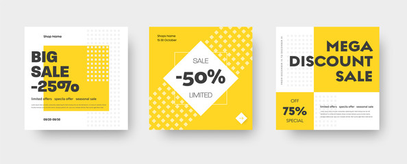 Vector square web banner templates for big and mega sale with yellow square elements. Fotobehang