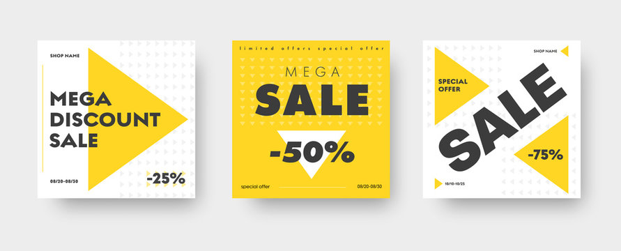 Square white and yellow web banner templates for big sale with triangles and discounts.