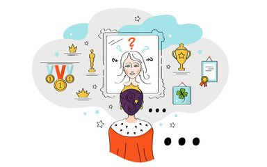Vector illustration, girl, woman, in the crown of a princess, queen, looks in the mirror, doubts herself. Cups, medals, diplomas, diplomas on the shelves.