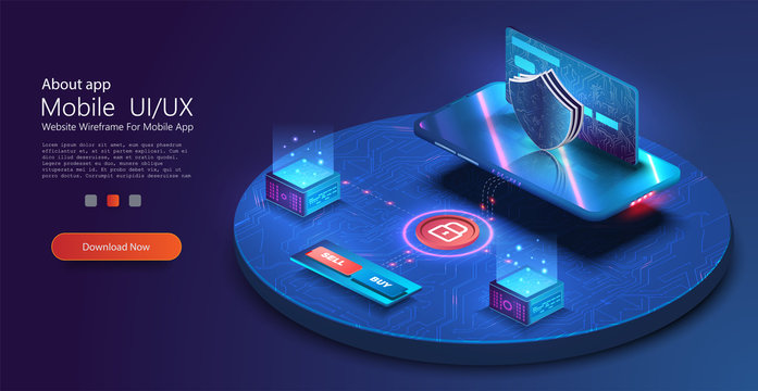 Mobile data security. Online payment protection system concept with smartphone and credit card. Digital security financial information and protection access bank account. Isometric vector illustration