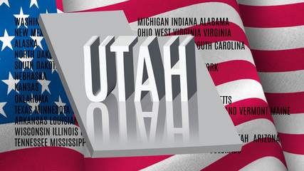 Utah inscription on American flag background .3D illustration