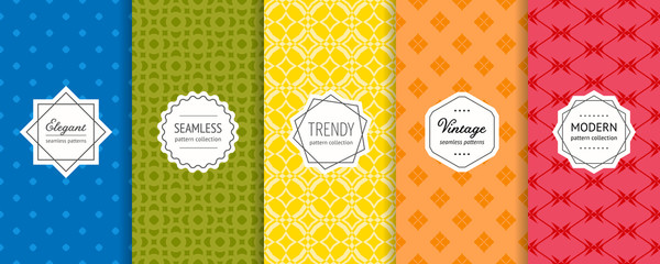Vector geometric seamless patterns set. Colorful background with modern labels Wall mural