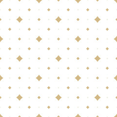 Golden vector seamless pattern with small diamond shapes, stars, rhombuses, dots. Abstract gold and white geometric texture. Simple minimal repeat background. Subtle luxury design for decor, wallpaper