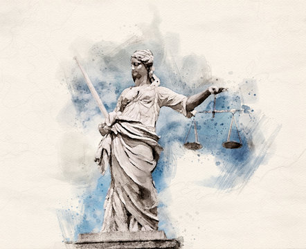 Watercolor Lady Justice