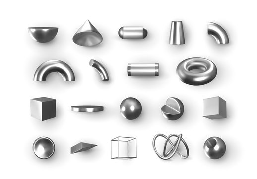 Set of 3d Silver Geometric Shapes Objects. Realistic geometry elements isolated on white background, on metallic color gradient. Render Decorative white figure for design. vector illustration