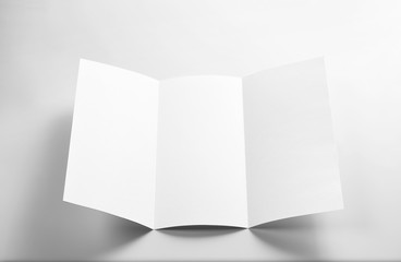 Blank Open Flyer over gray background