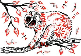 Lori lemur in a tree in Khokhloma style