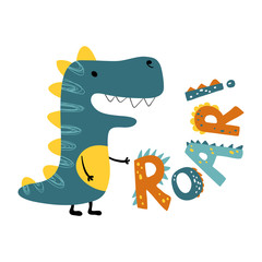 Roar dinosaur. Vector funny lettering quote with dino icon, scandinavian hand drawn illustration for greeting card, t shirt, print, stickers, posters design.