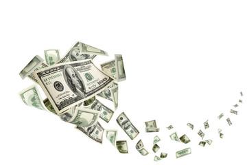 Hundred dollar bill. Falling money isolated background. American Fototapete