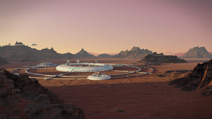 Tuinposter Diepbruine station on Mars surface, colony in desert landscape on the red planet
