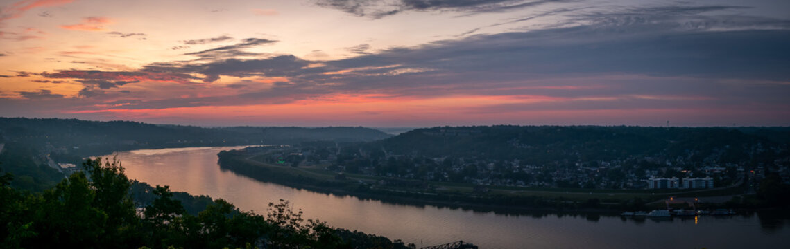Panorama of a Sunrise over the Ohio River