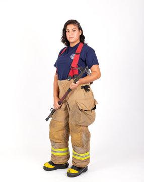 Female American firefighter in her gear