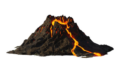 volcano eruption, lava coming down a mountain, isolated on white background