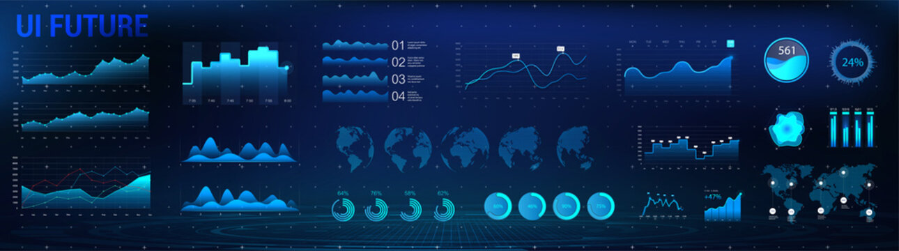 HUD charts and infographic interface UI, UX, KIT. Network management data screen with charts and diagrams. Modern interface with blue infographic, digital illustration. Vector modern web elements