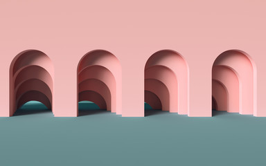 Obraz 3d render, abstract minimalist geometric background, architectural concept, arch inside pink wall, paper layers - fototapety do salonu