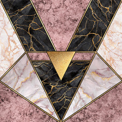 Ingelijste posters Geometrisch abstract art deco background, modern minimalist mosaic inlay, textures of pink marble granite agate and gold, artistic painted marbling, artificial stone, marbled tile, fashion marbling illustration