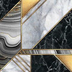 Ingelijste posters Geometrisch abstract art deco background, modern mosaic inlay, creative textures of marble granite agate and gold, artistic painted marbling, artificial stone, marbled tile surface, fashion marbling illustration