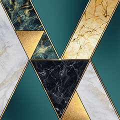 Poster Geometric abstract art deco background, modern mosaic inlay, creative texture of marble, green and gold, artistic painted marbling, artificial stone, marbled tile surface, minimal fashion marbling illustration