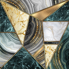 Ingelijste posters Geometrisch abstract art deco background, modern mosaic inlay, creative texture of marble agate and gold, artistic painted marbling, artificial stone, marbled tile surface, minimal fashion marbling illustration