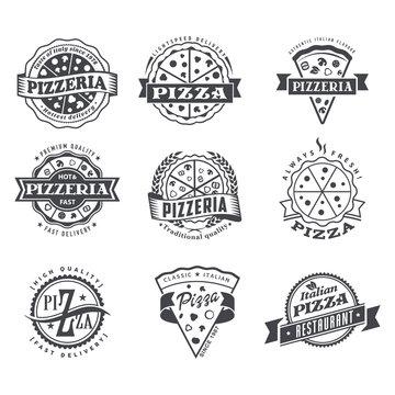 Vector pizzeria simple flat pizza logo set
