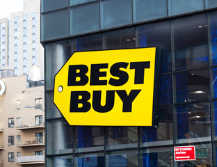 New York, New York, USA - August 24, 2019: Best Buy sign on 14th street store.