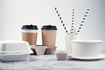 Eco-friendly biodegradable coffee cup , box, blow, plate,straw made by paper and recycle packaging.