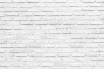 Foto auf Leinwand Wand Wall white brick wall texture background in room at subway. Interior rock old clean uneven tile design, horizontal architecture wall.