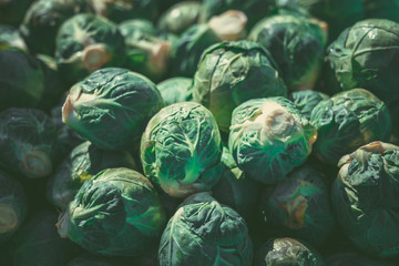 Wall Murals Brussels Green brussel sprouts at the market. green brussel sprouts background