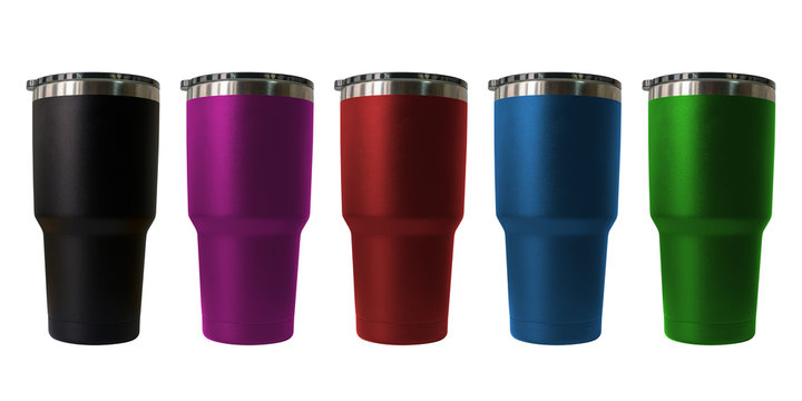 Stainless steel travel tumbler colour black, pink, blue, red and green, Size portable isolated on white background, Clipping path included