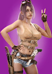 Fictional female young character holding up a peace sign with a gradient purple background. Sexy female wearing a cut off tank top,shorts,gun belt with lever action rifle and   hand gun . 3d rendering