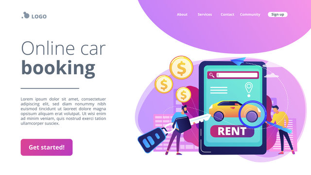 Transport renting website, automobile buying. Man searching used auto on Internet. Rental car service, budget car rental, online car booking concept. Website homepage landing web page template.
