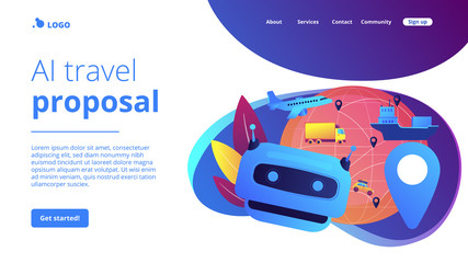 Keuken foto achterwand Cars Artificial intelligence delivery, logistics and distribution. AI in travel and transportation, AI travel recommendations, AI smart booking concept. Website homepage landing web page template.