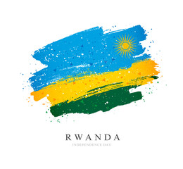 Flag of Rwanda. Vector illustration on a white background.
